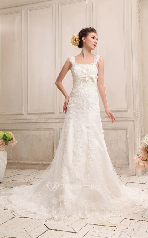 Square Neckline Straps Dress With Appliques and Bowed Sash