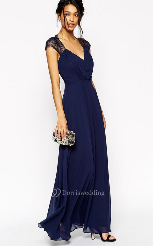 A-Line Cap-Sleeve Floor-Length V-Neck Lace Chiffon Bridesmaid Dress With Ruching