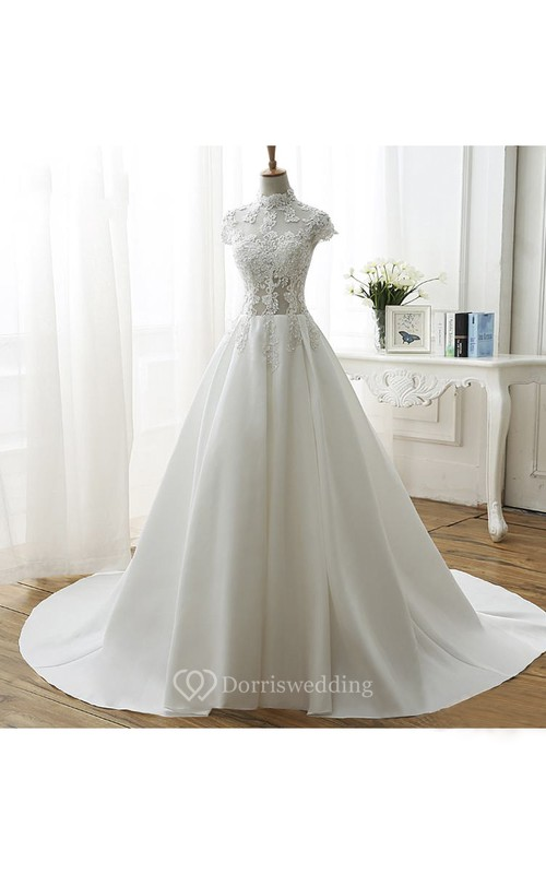 Illusion Ball Gown Wedding Dress With High Neck And Beadings Appliques