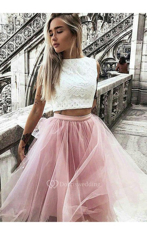 A-line Two Piece Sleeveless Lace Tulle High Neck Zipper Knee-length Homecoming Dress