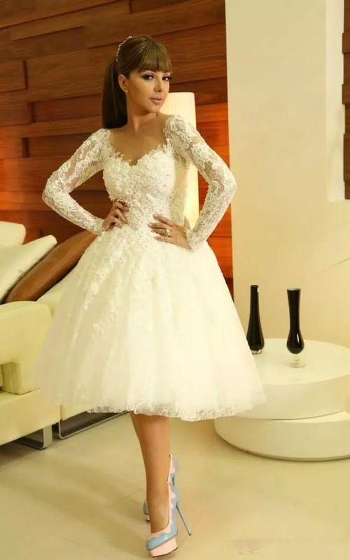 Modern Sweetheart Long Sleeve Short Wedding Dress With Lace ...