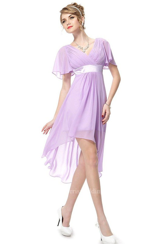 Short-sleeved Asymmetrical Chiffon Dress With Pleats