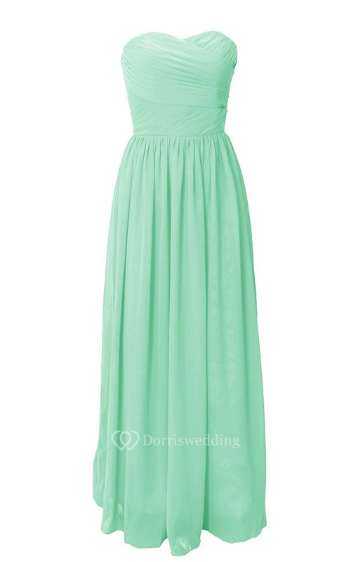 Pure Sweetheart Ruched A-line Gown With Zipper Back