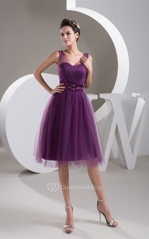 Strapped Knee-Length Tulle Dress With Floral Waist