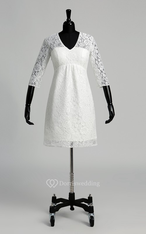 A-line V-neck Illusion 3/4 Length Sleeve Knee-length Lace Wedding Dress