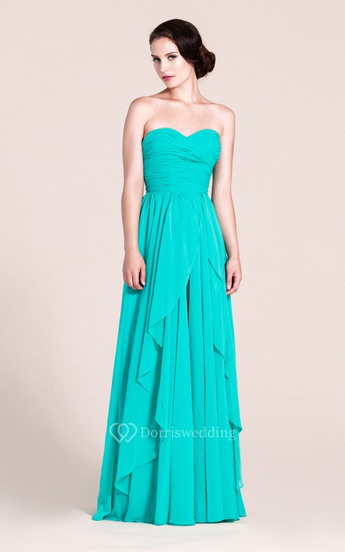 Sweetheart Layered Chiffon Dress With Pleats