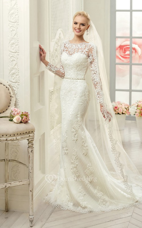 Sheath Maxi Bateau Long-Sleeve Deep-V-Back Lace Dress With Appliques And Waist Jewellery