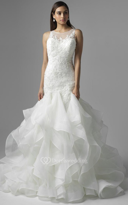 Floor-Length Scoop Appliqued Lace Wedding Dress With Court Train And Illusion