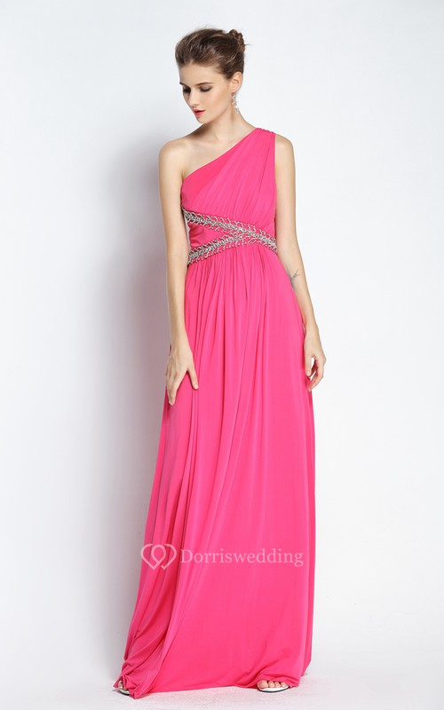 A-Line Floor-length One-shoulder Chiffon Sleeveless Prom Dress with Beading and Ruching