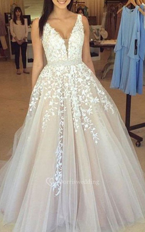 A-Line Ball Gown Lace Tulle V-neck Sleeveless Zipper Low-V Back Dress