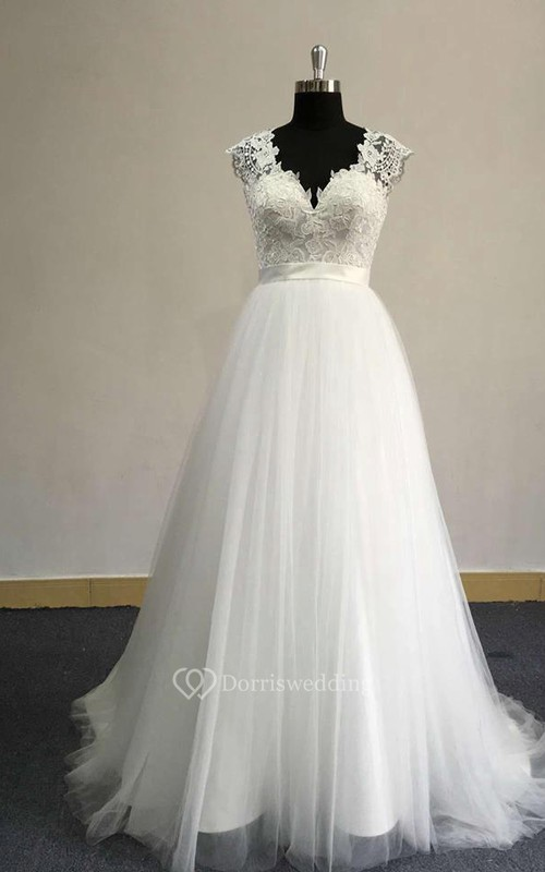 V-Neck Cap Sleeve A-Line Tulle Dress With Satin Sash and Lace Bodice