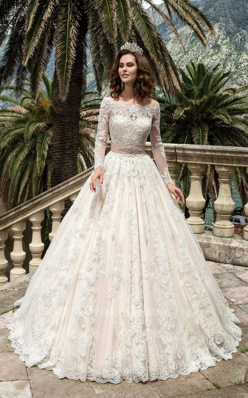 Bateau Neck Long Sleeve A-line Lace Wedding Dress With Beaded Sash ...