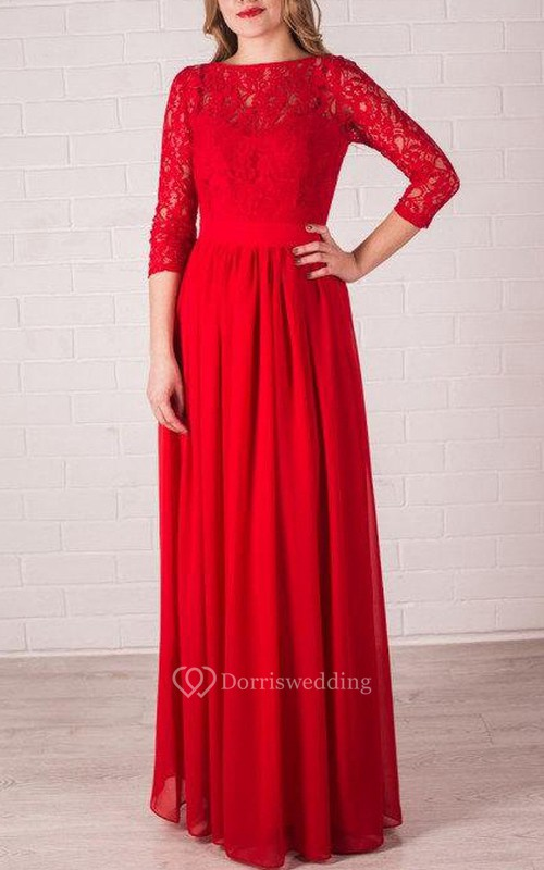 Red Long Bridesmaid Lace Handmade Red Chiffon Wedding Party Long Red Prom Dress