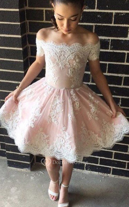 A-line Sleeveless Lace Off-the-shoulder Zipper Knee-length Homecoming Dress