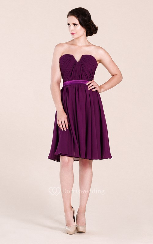 Strapless V-cut Short Pleated Chiffon Dress