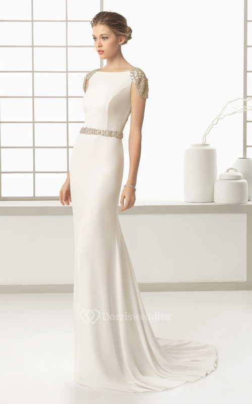 Sheath With Exquisite Beaded Backstyle And Belt