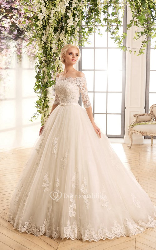 A-Line Floor-Length Off-The-Shoulder Half-Sleeve Illusion Lace Tulle Dress With Appliques
