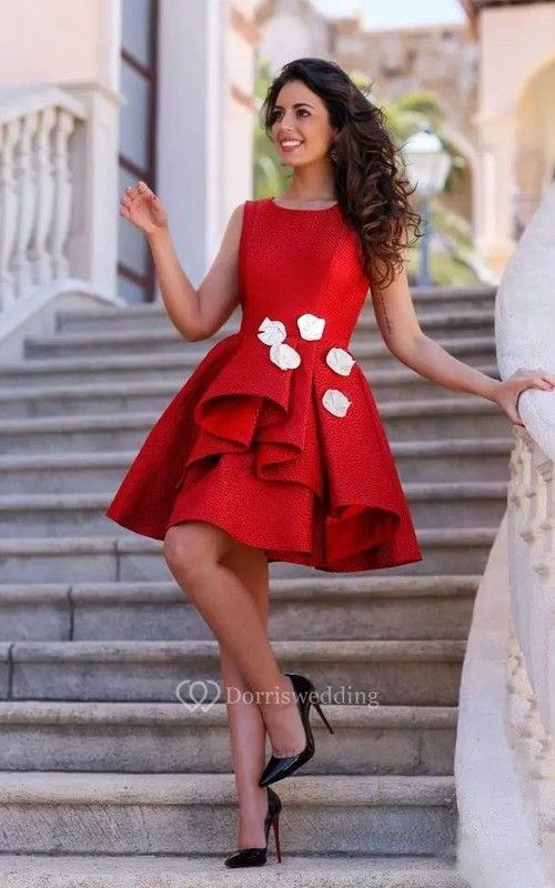 A-line Sleeveless Satin Bateau Knee-length Homecoming Dress