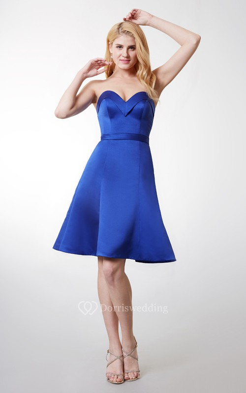 Sweetheart A-line Short Satin Dress With Backless