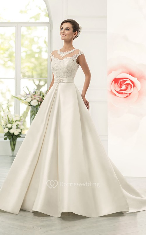 Jeweled Neck Cap Sleeve A-line Satin Wedding Dress With Lace Bodice ...