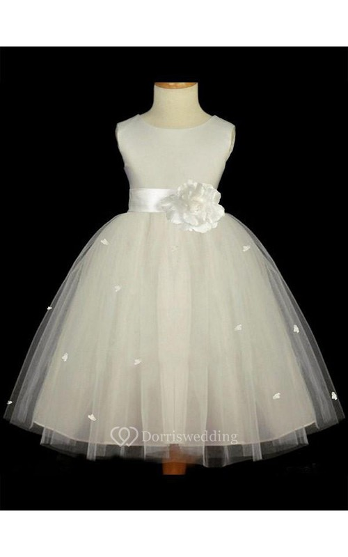 A-line Scoop Sleeveless Hand-made Flower Floor-length Tulle Flower Girl Dresses