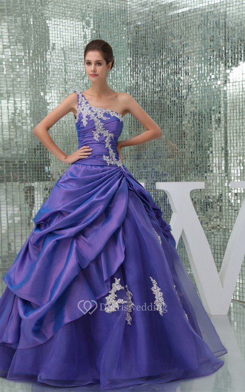 One-Shoulder Pick-Up Ruched Ball-Gown With Appliques