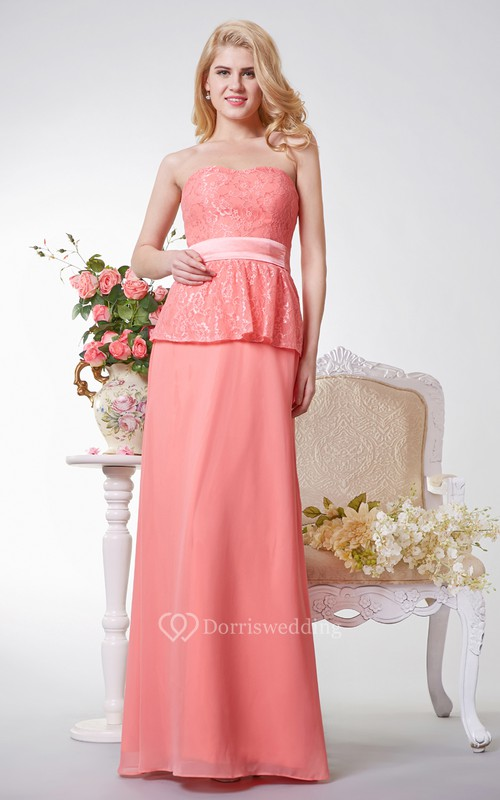 Strapless A-line Long Chiffon and Lace Dress With Sash