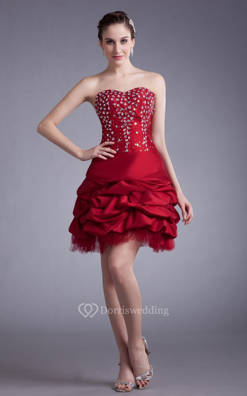 Sweetheart Short Dress With Beading and Ruffles