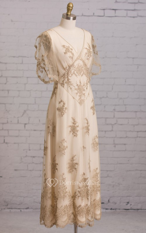 Sheath With Illusion Butterfly Sleeves V Back Goldline Embroidery Brush Train Dress