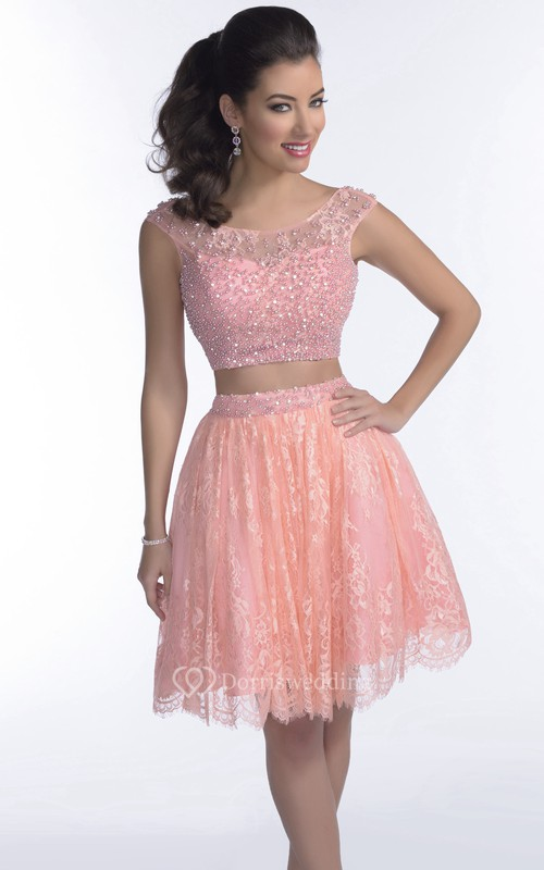 Low-V Back Bodice And Lace Skirt Prom Dress In Two Pieces