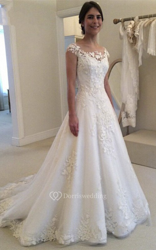 Lace Adorable Bateau Wedding Dress With Illusion Button Back And Cap Sleeves