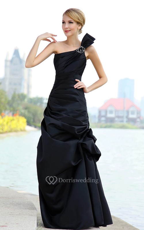 Satin One-Shoulder Mermaid Dress With Pick-Up Ruffles