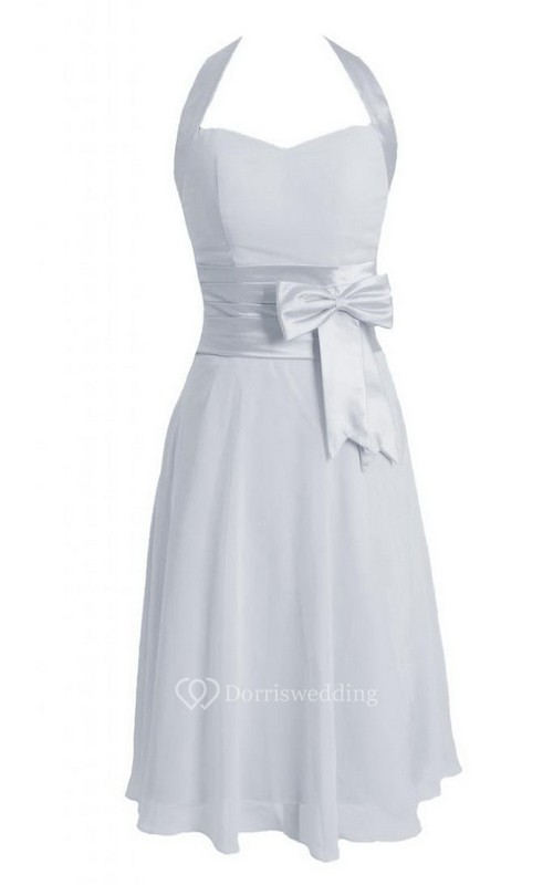 Halter Short Chiffon Dress With Bow Tie