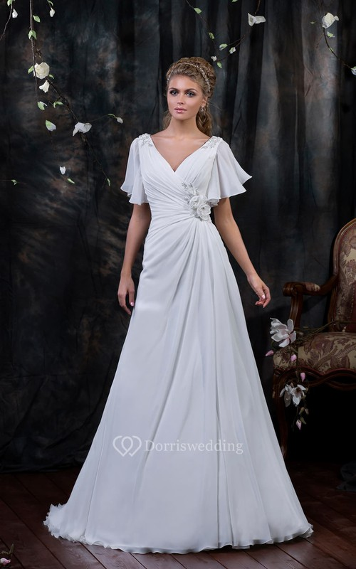 A-Line Floor-Length V-Neck Poet-Sleeve Corset-Back Chiffon Dress With Side Draping And Flower