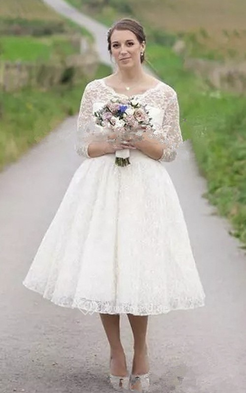 Vintage 3/4 Illusion Lace Sleeve Tea-length Wedding Dress With Buttons