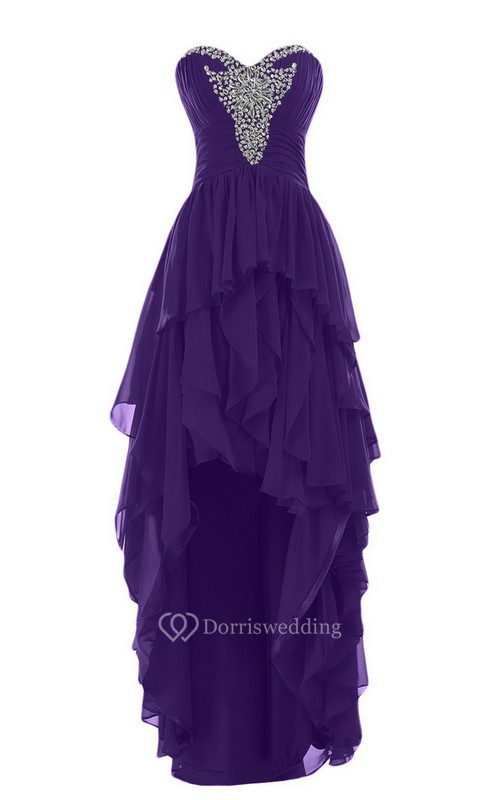 Sweetheart High-low Tiered Chiffon Dress With Beadings