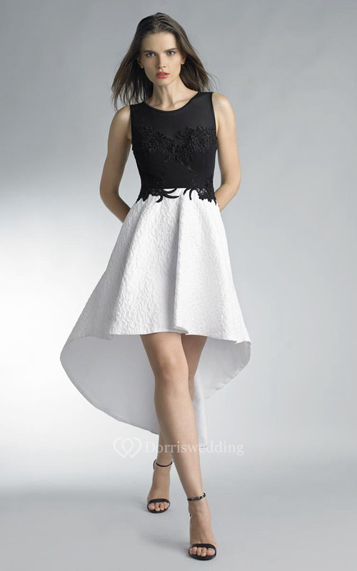 A-line High-low Jewel Strapless Lace Keyhole Dress