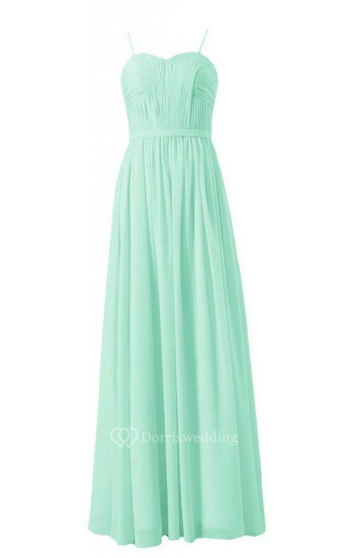 Spaghetti Straps Sweetheart Pleated A-line Gown With Band