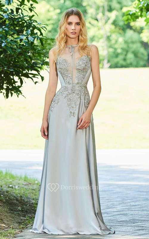 Appliqued Sleeveless Elegant Chiffon Button Back Prom Gown With Beading