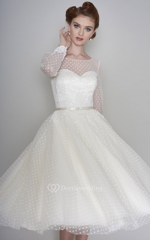 Tea Length Long Sleeve Vintage Illusion Bateau And Sweetheart Tulle Wedding Dress