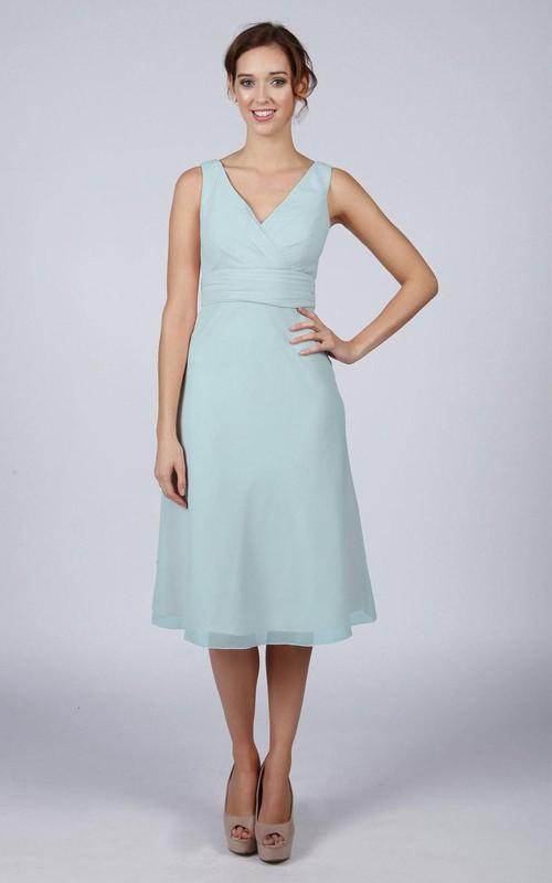 V Back V Back A-line Chiffon Short Dress Mint Blue - Dorris Wedding