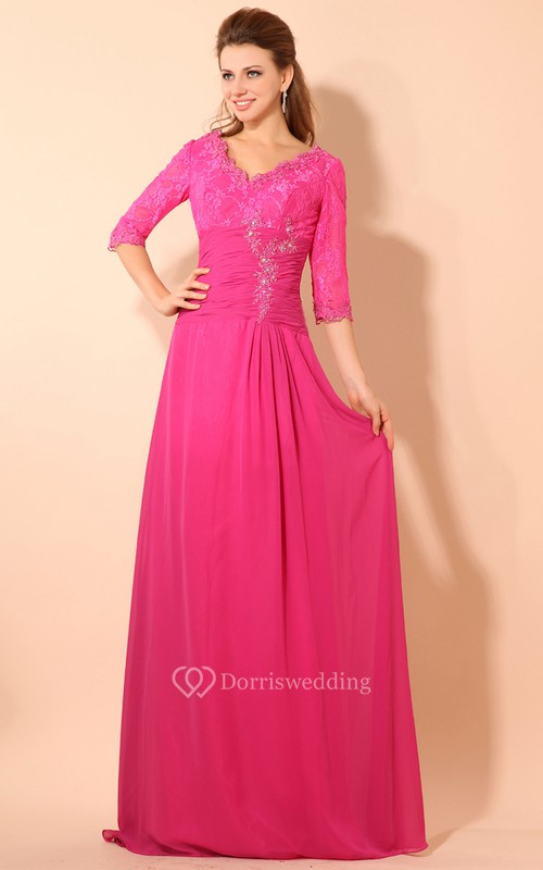 Half-Sleeve V-Neck Floor-Length Dress With Lace and Ruching Waist
