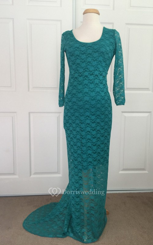 Lace Sheath Illusion Long Sleeve Scoop Maternity Dress