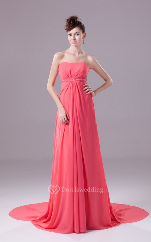 Sleeveless Chiffon Floor-Length Central-Ruched Empire Waist and Dress With Beading
