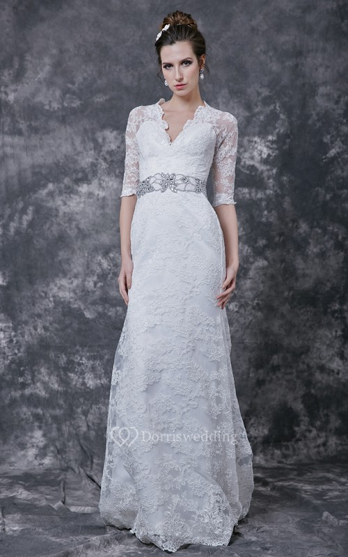 Stylish 3 4 Sleeve Long Lace Dress With Crystal Embellished Waist
