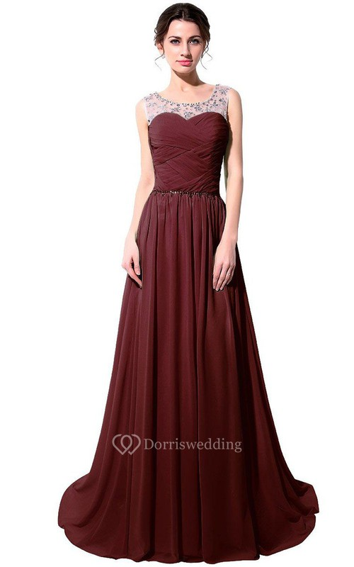 Sleeveless A-line Chiffon Dress With Illusion Neckline