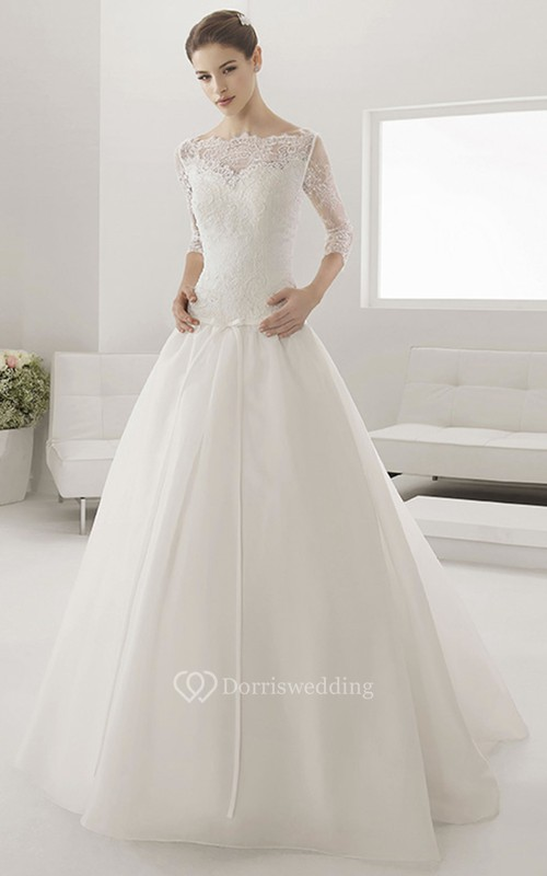 Illusion Bateau Drop Waist Ball Gown With Sash And 3-4 Sleeves ...