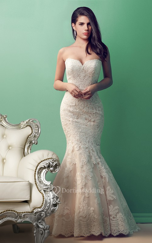Glamorous Sweetheart Lace Trumpet Wedding Gown - Dorris Wedding