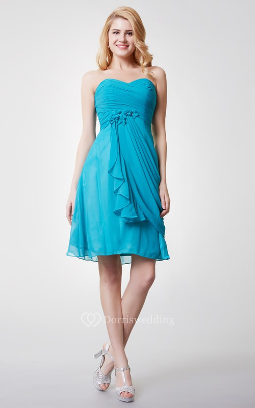 Strapless Ruched Short Chiffon Dress With Side Draping