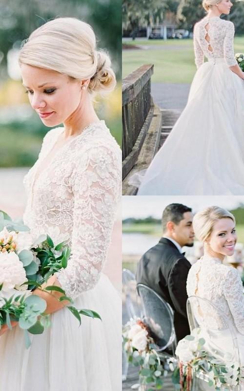 3 4 Long Sleeve Open Back Vintage Lace Pearls V-Neck Wedding Dresses ...